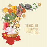 China Travel Vector Illustration With Chinese Map. Chinese Set With Architecture, Food, Costumes, Traditional Symbols. Chinese Tex Royalty Free Stock Photography