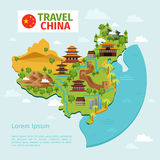 China travel vector map with traditional Chinese Royalty Free Stock Photo