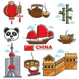 China travelling map with national sightseeings vector poster. Chinese travelling map with national sightseeings vector poster. Colorful illustration of Stock Images