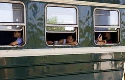 China - tren verde de la piel Fotos de archivo libres de regalías