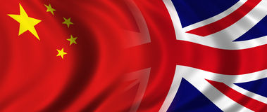 China & UK. Composited Chinese Flag and the flag of the United Kingdom, the Union Jack Royalty Free Stock Photo