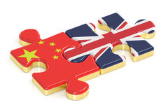 China and UK puzzles from flags, 3D rendering Stock Photography