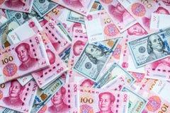 China- und USA-Geld Lizenzfreies Stockfoto
