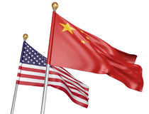 China and United States flags flying together for important diplomatic talks, 3D rendering. National flags from China and the United States flying side by side Royalty Free Stock Image