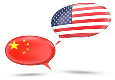 China - United States relations concept with speech bubbles Royalty Free Stock Photos