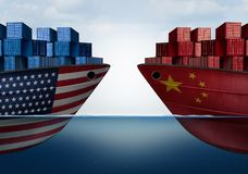 China United States Trade. And American tariffs as two opposing cargo ships as an economic taxation dispute over import and exports concept as a 3D illustration Stock Illustration