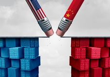 China United States Trade Crisis. And American tariffs or Chinese tariff as two pencils erasing a bridge over import and exports dispute concept as a 3D Stock Images