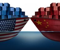 China United States Trade War. And American tariffs or Chinese tariff as two cargo ships as an economic taxation dispute over import and exports concept as a 3D royalty free illustration