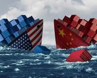 China United States Trade War Risk vector illustration