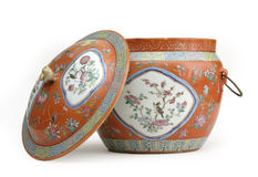 China Urn. Decorative painted china urn with matching cover Royalty Free Stock Photo