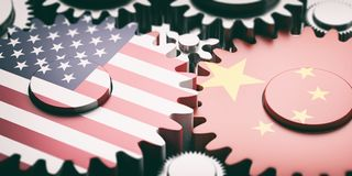 China and US of America flags on metal cogwheels. 3d illustration