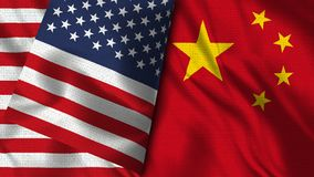 China and Usa Flag - 3D illustration Two Flags vector illustration
