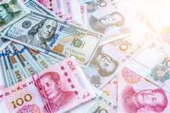 China and USA money bank notes. Royalty Free Stock Image