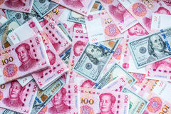 China and USA money. Royalty Free Stock Photo