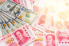 China and USA money one hundred bank notes. Stock Photography