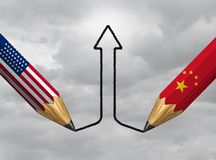 China USA Success. And economic trade agreement or financial treaty and industry partnership successful between Chinese and American government as a 3D royalty free illustration