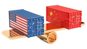 China or USA trade and tariffs balance concept, 3D rendering royalty free illustration