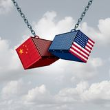 China USA Trade War. And American tariffs as two opposing cargo freight containers in conflict as an economic dispute over import and exports concept as a 3D stock illustration