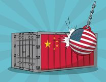 Trade war concept. China and USA trade war concept vector illustration graphic design Stock Images