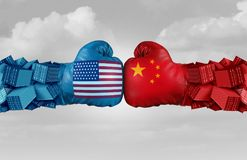 China USA Trade Challenge. China USA or United States trade and American tariffs conflict with two opposing trading partners as an economic import and exports vector illustration