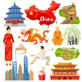 China vector chinese culture in Asia and Great Wall of China illustration set of asian symbols panda dragon traditional. Dress and flag on white background royalty free illustration