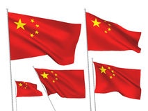 China vector flags. A set of 5 wavy 3D flags created using gradient meshes vector illustration