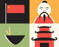 China, vector flat illustration, icon set vector illustration