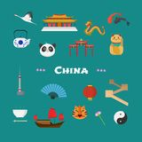China vector illustration with Chinese famous landmarks, lantern, dragon, other objects. Visit China concept nonstandard design icons set Royalty Free Stock Image