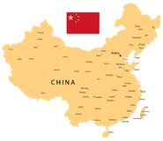 China vector Map. With Flag royalty free illustration