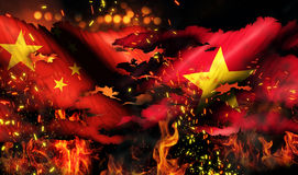 China Vietnam Flag War Torn Fire International Conflict 3D. Digital Art Stock Photos