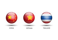 China Vietnam Thailand Flag stock illustration