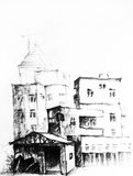 China village. A pencil sketch of a village in china Royalty Free Stock Photos