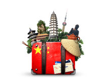 China. Vintage suitcase with  flag and landmarks stock photography