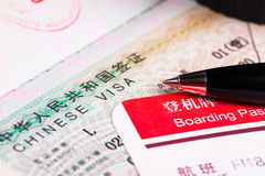 China visa in passport and boarding pass Stock Image