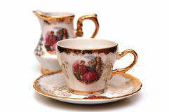 China ware. Hand painted china ware (a cup and a jug Stock Photo