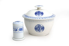 China wares. China ware serving pot with toothpick holder Royalty Free Stock Photography