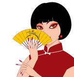 China women. A woman holding a folding fan Stock Photos
