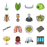 China, woodworking, apiary and other web icon in cartoon style.Italy, profession, furniture icons in set collection. China, woodworking, apiary and other  icon Royalty Free Stock Images