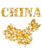 China word and country map shaped with corn seeds Stock Photo