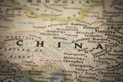 China on map. China on a world map royalty free stock photo