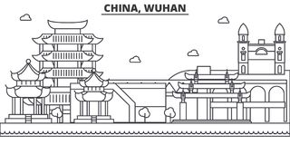China, Wuhan architecture line skyline illustration. Linear vector cityscape with famous landmarks, city sights, design Royalty Free Stock Photography