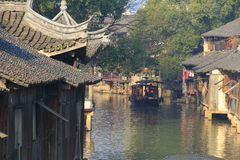 China ,wuzhen Water Village,People row a boat Stock Photo