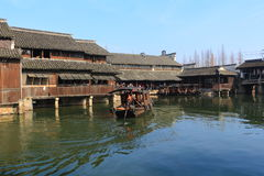 China ,wuzhen Water Village,People row a boat Stock Photography