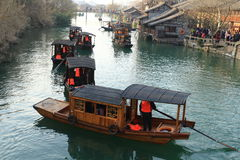 China ,wuzhen Water Village,People row a boat Stock Images