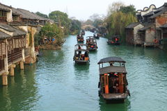 China ,wuzhen Water Village,People row a boat Stock Photos