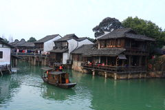 China ,wuzhen Water Village,People row a boat Stock Image