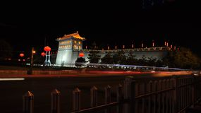 China xi 'an ancient city wall at night Stock Photography