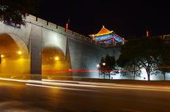 China, xi 'an, ancient city wall at night Stock Photography