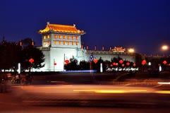 China xi 'an ancient city wall at night royalty free stock photography