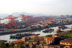 China xiamen sea port overview. This is a photo of Xiamen sea port in south-east of China, one of the most famous port in China royalty free stock image
